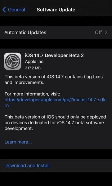 Apple releases iOS 14.7 Beta 2 and iPadOS 14.7 Beta 2